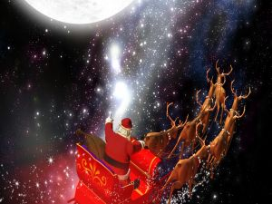 Santa Claus traveling by the world