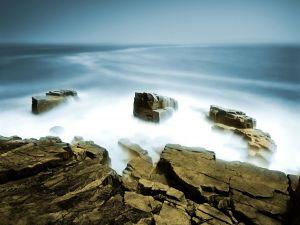 Fog between large rocks