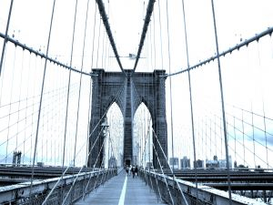 People walking on the Brooklyn bridge