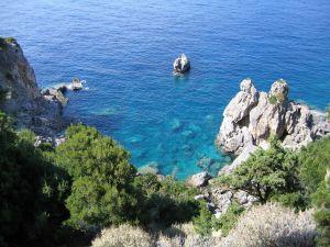 Landscape of rocks in the sea