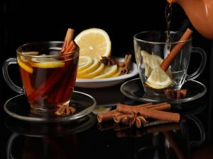 Tea with cinnamon and lemon