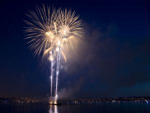 Fireworks near water