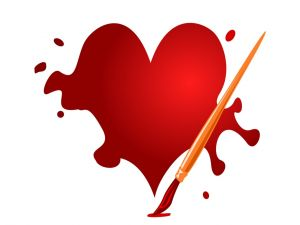 Painting a red heart