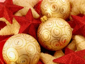 Golden balls and red stars for Christmas