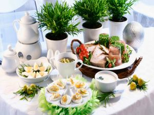 Table with boiled eggs and other foods