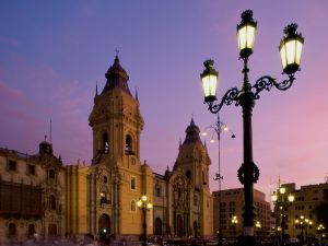 Plaza Mayor of Lima at dusk