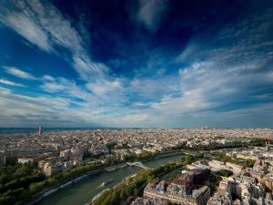 View of the Seine River and the city of Paris