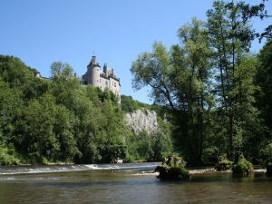 Walzin Castle and the Lesse River, in Dréhance (Belgium)