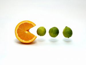 Pac-Man orange and limes