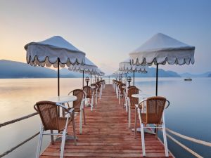 Parasols and tables on the dock