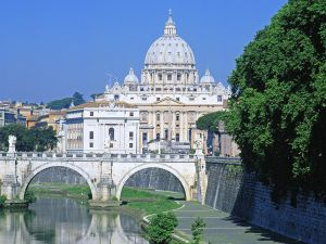 View of St. Peter's Basilica from the Tiber river