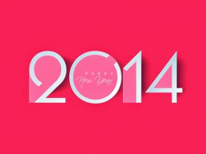 Happy New Year 2014, in pink background