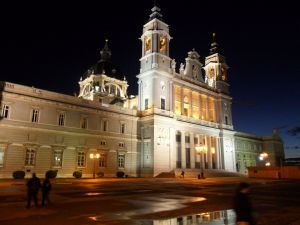 The Madrid Cathedral illuminated