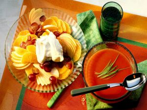 Tomato soup and fruit salad