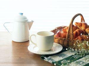 Basket of croissants for breakfast