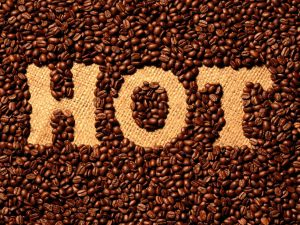 Hot, coffee beans