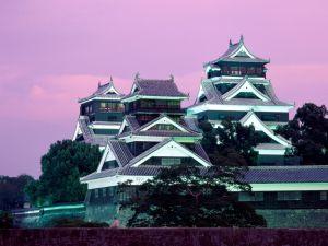 Kumamoto Castle, illuminated at dusk
