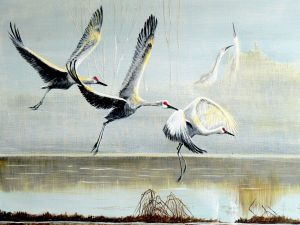 Painting of storks flying