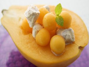 Fruit salad with ice cream