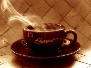 Freshly brewed espresso coffee