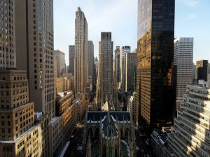 St. Patrick's Cathedral in New York, surrounded by large buildings