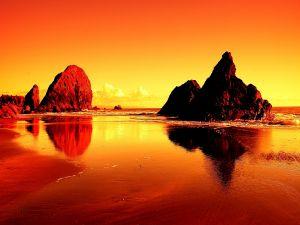 Orange landscape with huge rocks in the sea