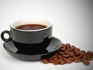 Black cup with coffee