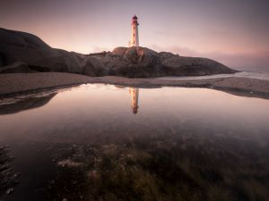Lighthouse reflected in water