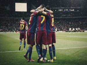 Barça players celebrating a goal