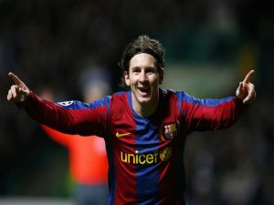 Messi happy for the goal