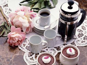 Coffee, chocolate and flowers