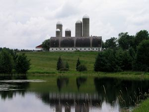 Building near greenery and water