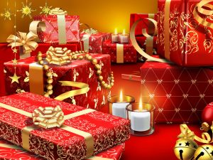 Gifts with red and gold paper for Christmas