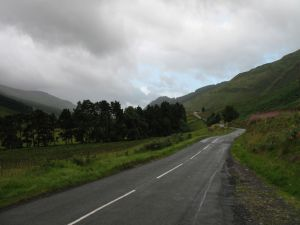 Rain-soaked road