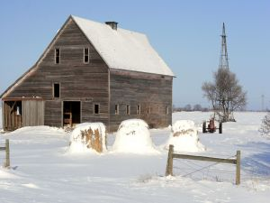Covered snow barn