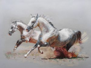 Paint of horses running