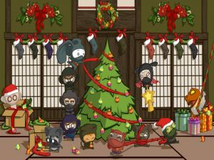 Ninjas assembling the Christmas tree