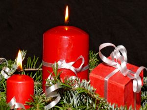 Gift box and red candles