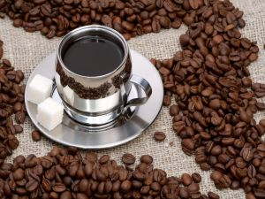 Silver color cup with coffee