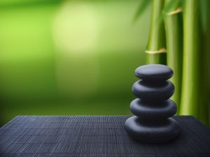 Black stones and bamboo