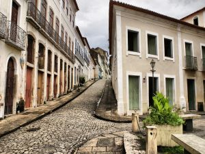 Village with cobblestone streets