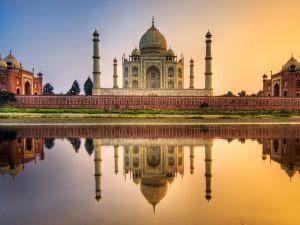 The Taj Mahal reflected in Yamuna river