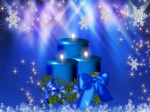 Blue candles lit for Christmas
