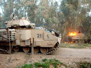 Tank in flames