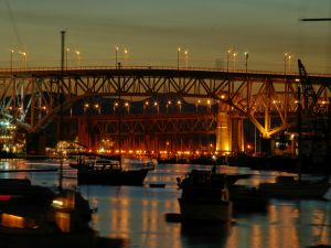 Bridges illuminated in the port