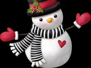 Snowman with scarf, hat and mittens