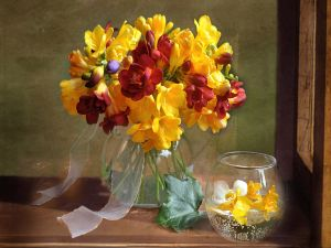 Bouquet of freesias in a vase