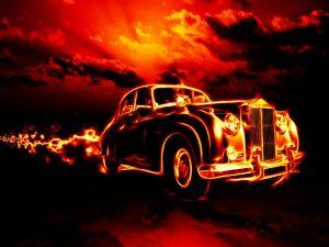A classic in flames