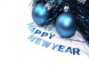 Happy New Year, in blue letters