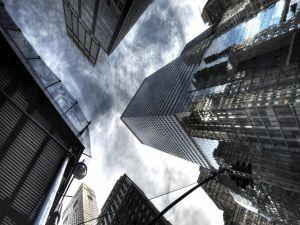 Looking at the sky between buildings